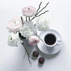 Pastel flowers and tea.