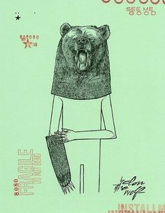 Grizzly Bear Mask two color woodland bear anthropomorphic forest art print