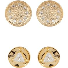 Melinda Maria Joan Pod Stud & Mini Nelly Stud Earrings Set ($35) ❤ liked on Polyvore featuring jewelry, earrings, blue topaz white cz, disc stud earrings, disc earrings, stud earrings, melinda maria earrings and post back earrings