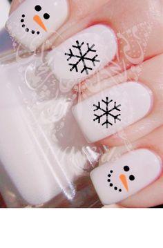 Christmas Gel Nails, Christmas Nail Designs, Holiday Nails, Nail Art Noel, Xmas Nail Art, Cute Nails, Pretty Nails, Snowman Nails, Best Acrylic Nails