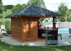 Outdoor Patio Bar, Backyard Bar, Backyard Patio Designs, Outdoor Kitchen Design, Backyard Cabana, Backyard Ideas, Pool House Shed, Pool House Plans, Small Pool Houses