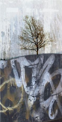artpropelled:Karla Doell; this piece has a big message, the tree is growing on top of what seems to be graffiti, and I think I want my landscape to have a similar message