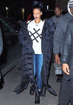 Rihanna partied in New York wearing a Vetements... | RIHANNA.STYLE