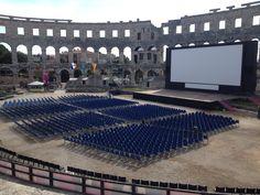 Movie screen set-up in Ancient Roman Amphitheater, Pula, Croatia.