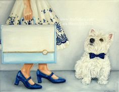 She Traveled in Style     11x14 Original OIL by studiolara316 #westie #vintage #suitcase #vintage #dress