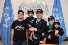 Secretary-General Ban Ki-moon meets with young members of a Global Fan Club in Support of the Refugee Olympic Team. The first refugee team in the history of the modern Olympic Games will walk into the Opening Ceremony of the Rio 2016 Olympic Games on Friday 5 August.