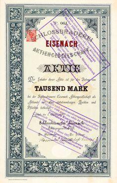 Schlossbrauerei Eisenach, Gründeraktie von 1889 + ÄUSSERST SELTEN + DEKORATIV!