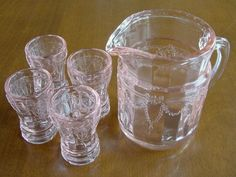 Mosser Glass Depression Pink Childs Pitcher & Tumblers Completed