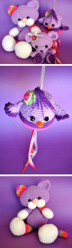 Cat, bear and bird crochet