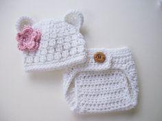Bear Hat - Diaper Cover - Baby Girl Hat - Baby Girl Beanie - Crochet Baby Hat - Newborn Prop - Ready to Ship - White Pink - Newborn