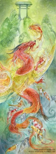 In Chinese and Japanese legend the lowly carp spends its life trying to swim up the Yellow River. At the source of the river is a great roaring waterfall. If the koi were able to swim up that waterfall, it would be rewarded and transformed into a dragon. Thus, the koi is a symbol of personal advancement, perseverance, determination.