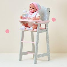 Olivia's Little World - Polka Dots Princess Baby Doll High Chair , Feeding Highchair Toddler Wooden Doll Play Furniture - Gray , fits 16 inch Baby Doll Princess Baby Dolls, Baby Doll Furniture, Doll High Chair, Cute Desk Chair, Baby Doll Nursery, Baby Doll Accessories, Pink Cushions, Baby Alive, Grey Chair