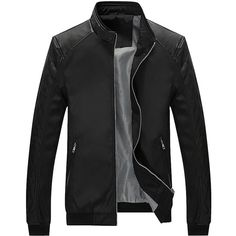 Partiss Men's Stand Collar PU Leather Sleeves Jacket at Amazon Men's... (41 NZD) ❤ liked on Polyvore featuring men's fashion, men's clothing, men's outerwear, men's jackets, mens jackets and mens leather sleeve jacket