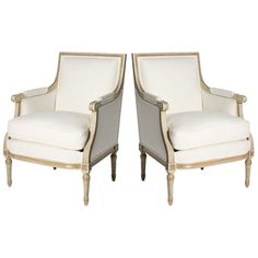 Pair of Louis XVI style bergeres, c. 1940 | From a unique collection of antique and modern bergere chairs at http://www.1stdibs.com/furniture/seating/bergere-chairs/