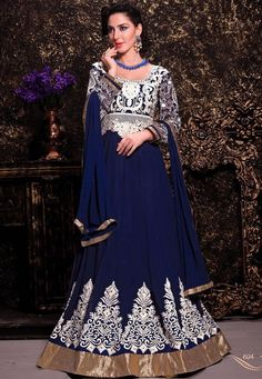 Aesthetic Blue Anarkali Suit