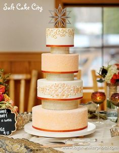 Salt Cake City (www.SaltCakeCity.com) gold and orange crystal wedding cake with sugar covered tiers, gold bead separators, and edible gem mosaic Orange Crystals, Crystal Wedding, Bespoke, Pantry, Gem, Wedding Cakes, Mosaic, Projects To Try, Salt
