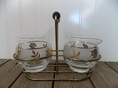 Vintage 1960's Libbey Starlyte Gold Leaf Creamer Sugar Bowl Set w/Metal Carrier
