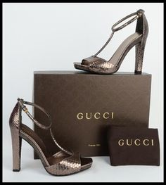 Gucci Daisy Python Leather High Heel T-strap Ankle Strap Metallics Sandals. Get the must-have sandals of this season! These Gucci Daisy Python Leather High Heel T-strap Ankle Strap Metallics Sandals are a top 10 member favorite on Tradesy. Save on yours before they're sold out!