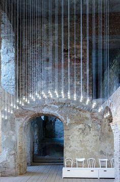 Former vaults recreated with a lighting instalation