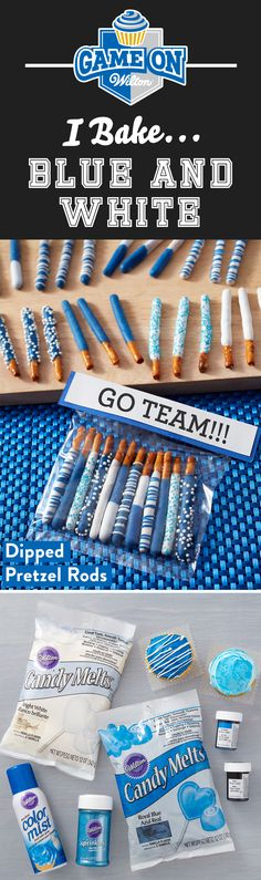 Are your team colors Blue and White? Create fun blue and white game day snacks to show your team pride with Wilton's Blue and White Team Color Kit that includes blue and white Candy Melts candy, icing gel, and sprinkles.
