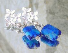 Lampwork Earrings Cherry Blossoms by the Sea Fall by CandanImrak, $24.00
