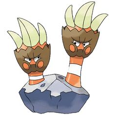 Binacle is a Rock- and Water-type Pokémon. These Pokémon spend their lives affixed to rocks along the seaside. They generally live two to a rock, but if they quarrel, one will move to another rock.  Binacle can have the Ability Tough Claws, which debuts in Pokémon X and Pokémon Y. It raises the power of moves that make direct contact.