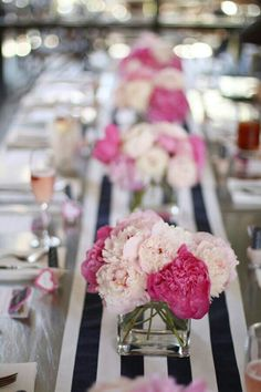 LOVE pink peonies & striped table runner for bridal shower Bridal Shower Tables, Bridal Shower Decorations, Wedding Centerpieces, Wedding Decorations, Shower Centerpieces, Wedding Tables, Decor Wedding, Bridal Showers, Wedding Ideas