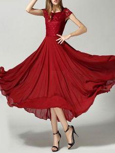 Bohemian  Square Neck Lace  Patchwork Plain Maxi-dress Maxi Dresses from fashionmia.com