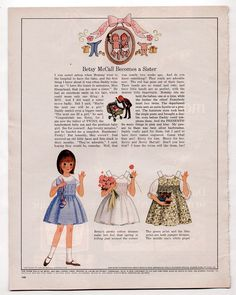 Vintage Betsy McCall Paper Dolls 1966 BETSY MCCALL BECOMES A SISTER/uncut page | eBay
