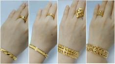 Latest gold bracelet and ring designs - Simple Craft Ideas Plain Gold Bangles, Gold Plated Bracelets, Bridal Jewelry, Gold Jewelry, Diamond Jewellery, Gold Bracelet For Women, Gold Set, Modern Jewelry, Ring Designs