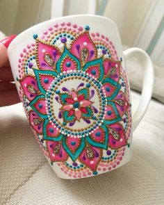 Pink Mandala Art Mug/ Coffee Mug/ Unique Coffee Mug/ Ceramic Mugs/ Cute Mugs/ Tea Mugs/ Coffee Lover Gifts/ Art Print Mug/ Dot Art Painting, Pottery Painting, Ceramic Painting, Ceramic Art, Ceramic Mugs, Mandala Art, Mandala Painting, Painted Mugs, Hand Painted Ceramics