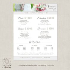 wedding photography package pricing list template photography pricing guide price list price sheet 019 c077 instant download