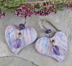 Purple Lavender and Pink Polymer Clay Heart by LindaLandigJewelry, $24.00