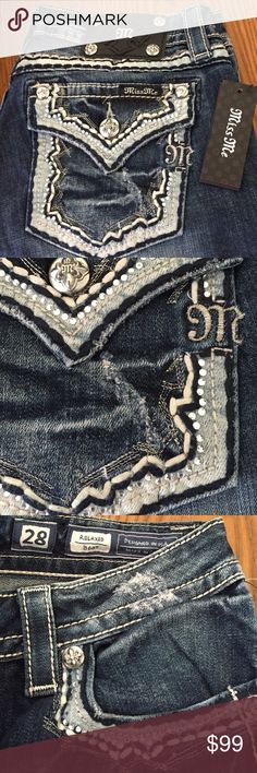 HP👖MISS ME relaxed boot 28/30 inseam NWT👖 Host Pick 👖JUST IN miss me boot cut short inseam 28/30 NWT flap pockets with light blue trim and rhinestones 👖 Miss Me Jeans Boot Cut