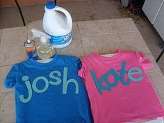 Personalized Shirts--lay items on shirt and spray bleach to lighten the rest of the shirt
