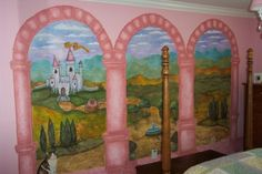 Fit for a Princess, After 3 years we have just about completed my daughter Sydney's princess room.  As a stay at home mom and decorative painter I finally painted her room.  She wanted a Cinderella castle theme.  I have painted her room to look like a castle with a view of her prince's castle.  She wanted me to include our cat Rocky fairies etc.  She is a very happy princess now!, Girls' Rooms Design