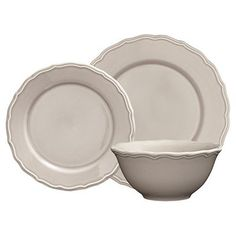 Grace 12 Piece Taupe Dinner Set