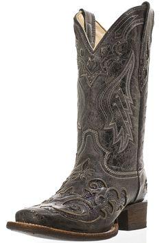 Corral Women black python inlay square toe boot