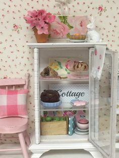 Spring Bakery Glass Hutch Filled with Baked by RibbonwoodCottage