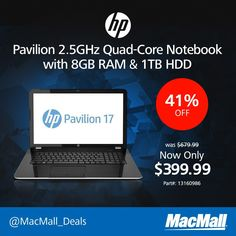 Save 41% on this #HP Pavilion 2.5GHz quad core notebook with 8GB RAM  1TB HDD at MacMall.