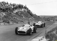 Juan Manuel Fangio and Stirling Moss at the 1955 Dutch Grand Prix