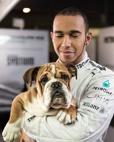 "Lewis Hamilton, Mercedes AMG Pilot w/Roscoe wondering no longer about the lack of a ""safety"" car. #TeamLH"