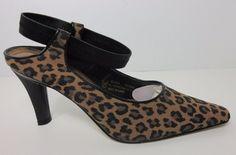 Salsero Clara Womens Leopard Print Pointed Toe Dress Pumps Heels Shoes Size 8 M #Salsero #Classics