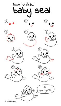 How to draw Baby Seal. Easy drawing, step by step, perfect for kids! Let's draw kids. http://letsdrawkids.com/