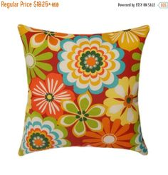 Fabric Designer - Swavelle Mill Creek Fabric Name - Esbo Fabric Color - Poppy Color - teal, orange,ivory, lime, forest green and yellow on a red background   Brand new handmade decorative throw pillows stuffed with high quality polyester & sewn closed  This great indoor/outdoor fabric is stain and water resistant, perfect for outdoor settings and indoors in sunny rooms as it is fade resistant to 500 hours of direct sun exposure! The pillow is filled with a high quality fiber fill SAME FABRIC…