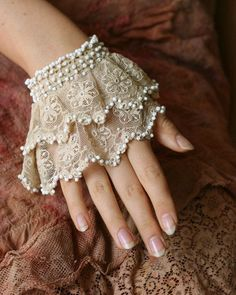 Rich layered ruffles, hand beading , utterly romantic look. Simple delicate cuff made of antique vintage cotton laces, -embroidered net lace and broderie anglaise in shade of palest beige,-. Coton Vintage, Vintage Cotton, Cotton Lace, Vintage Lace, Vintage Metal, Wedding Dress Accessories, Fashion Accessories, Vintage Accessories, Shabby Chic