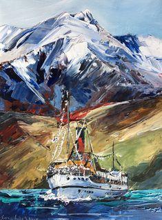 The Earnslaw cruising on Lake Wakatipu Queenstown NZ Lake Wakatipu, Living In New Zealand, Sea Side, Paradise, Palette, Artist, Painting, Artists, Painting Art
