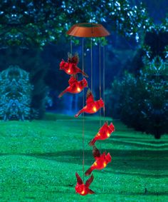 a flock of cardinals no feeding necessary garden days cardinal mobile with solar lights - Decorative Solar Lights
