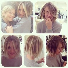 In love with Kaley Cuoco's wispy short hair.