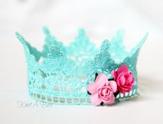 Lace crown photo prop any color turquoise pink от KnotABowBoutique